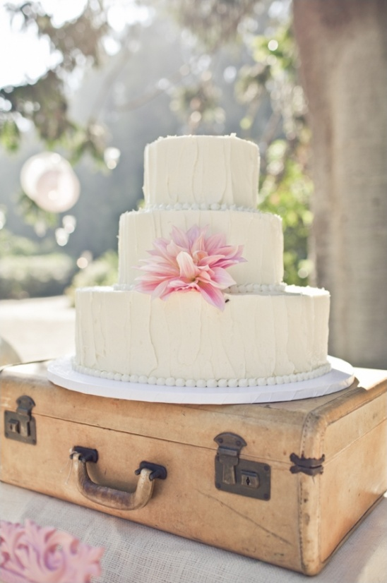white wedding cake on a suitcase