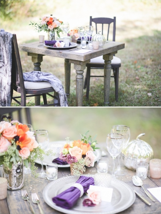 purple and peach wedding decor