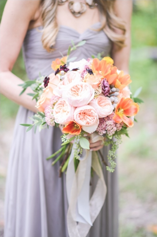 Peach And Purple Wedding Bouquet