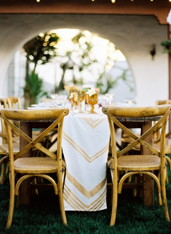 gold chevron table runners