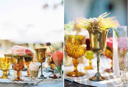 mismatched vases used for florals