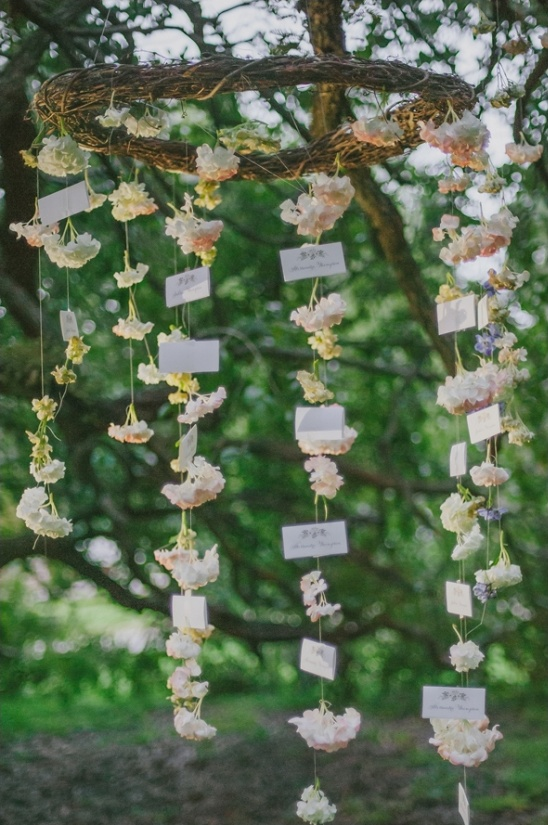 hanging floral escort cards