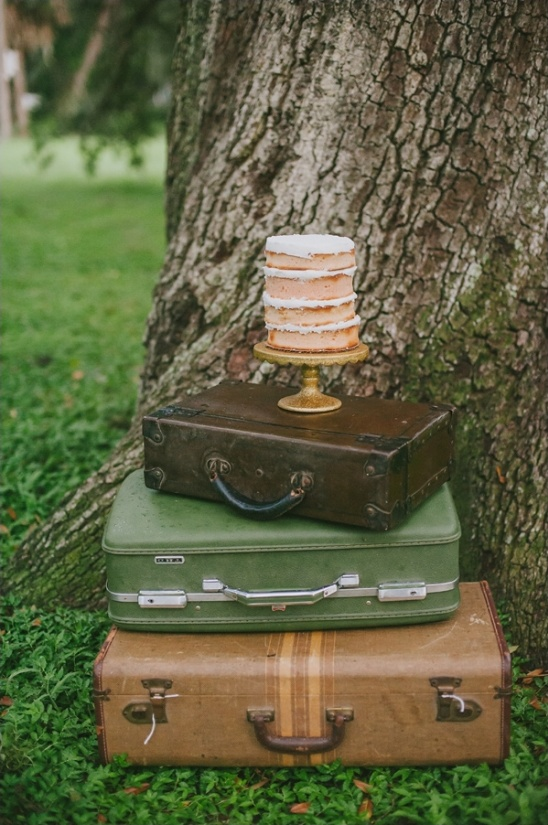vintage suitcase cake display