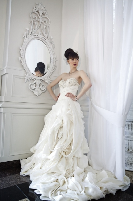 organic ruffle wedding gown