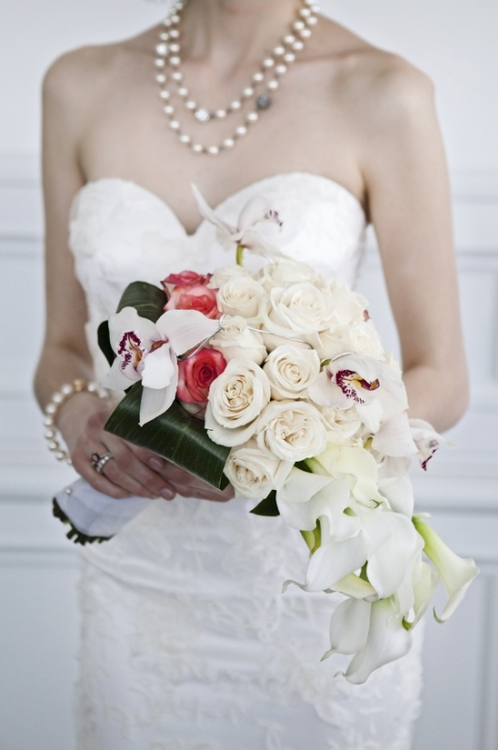 cascading white and red bouquet