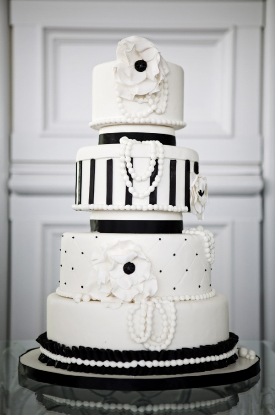 elegant black and white cake