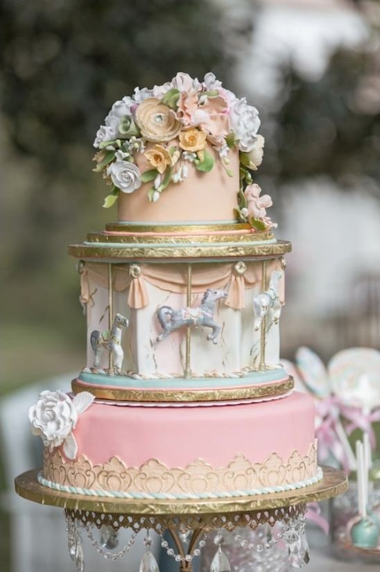 Carousel inspired wedding cake