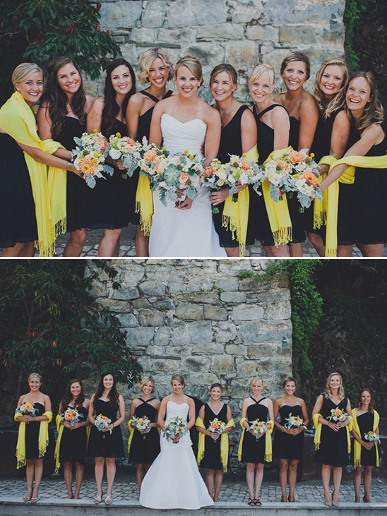 navy bridesmaid dresses with yellow shawls