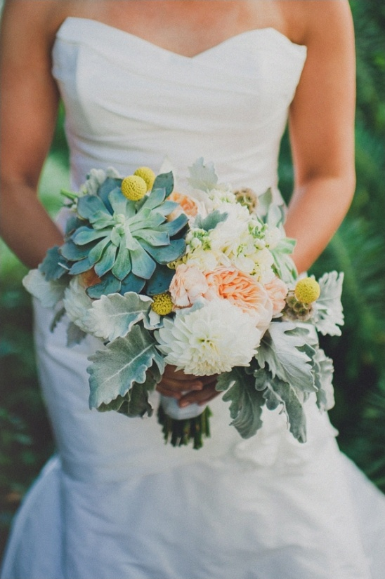 green, peach and yellow wedding bouquet