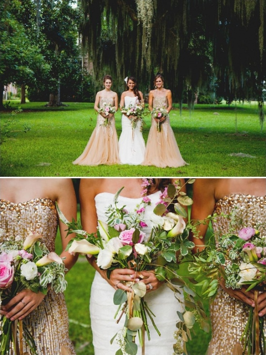 gold and peach bridesmaid dress