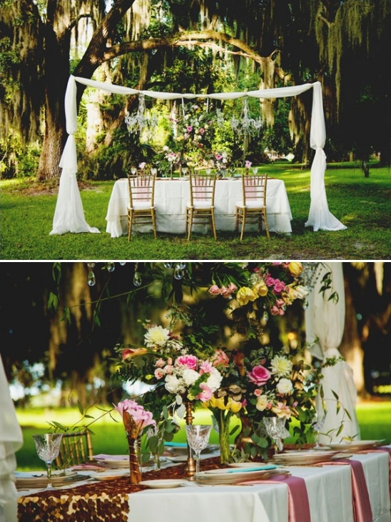 southern pink and gold table decor