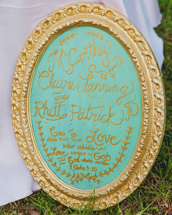 mint and gold frame