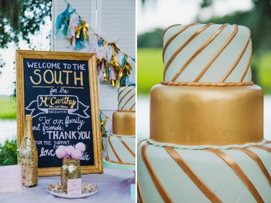 gold and mint cake