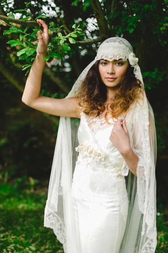 seventies inspired wedding gown