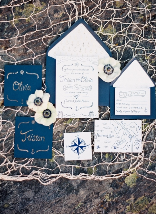 navy blue nautical invites