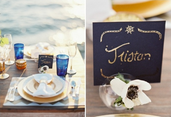 gold nautical escort cards