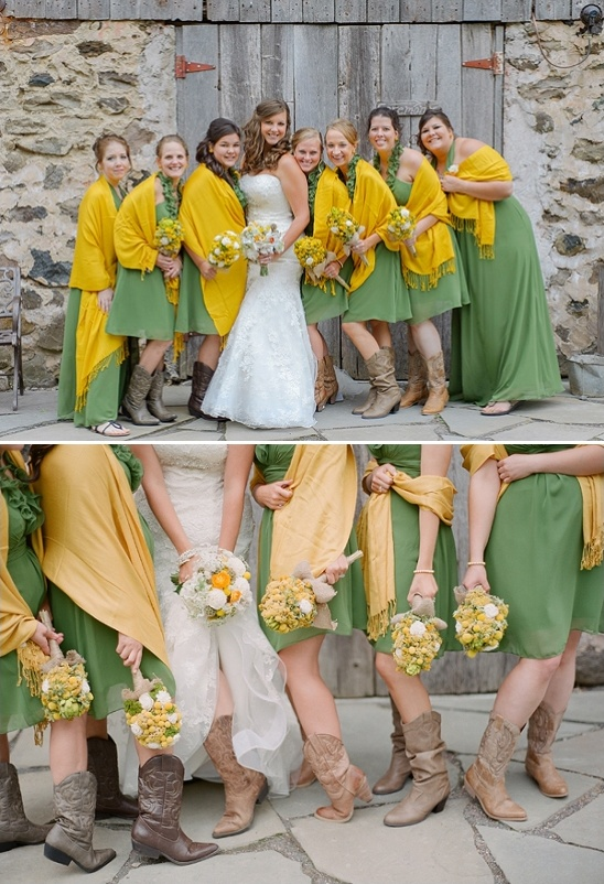 green and yellow bridesmaid dresses