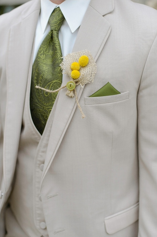 button and burlap boutonniere