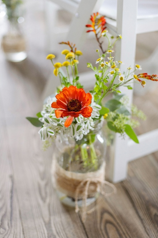 rustic mason jar aisle decor