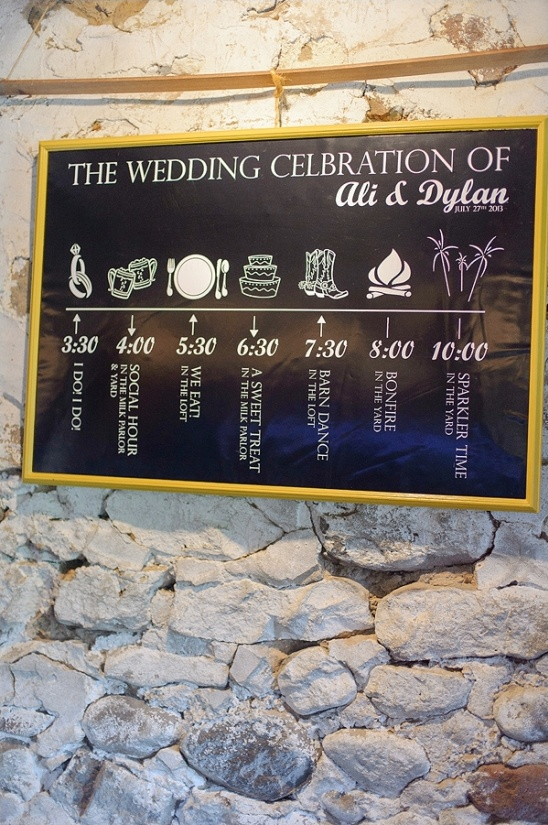 unique wedding timeline sign