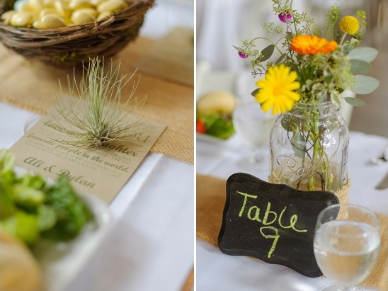 chalkboard table numbers and air plant wedding favor