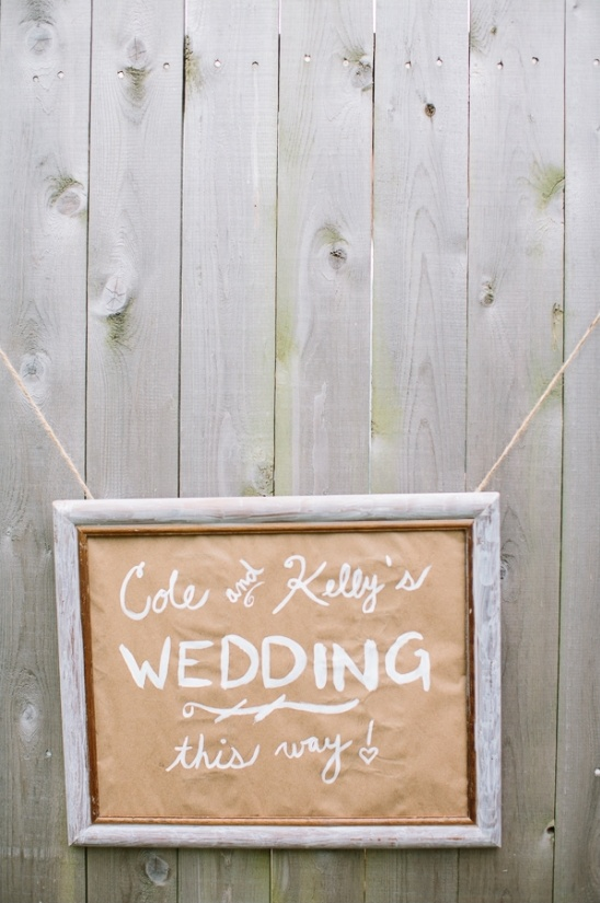 wedding sign painted on kraft paper