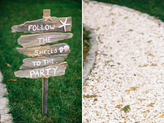 follow the shells to the party sign
