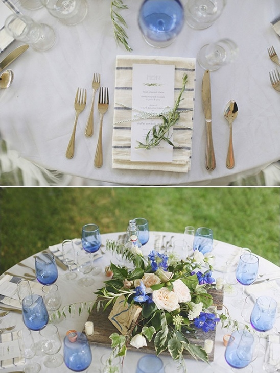 blue and cream table decor