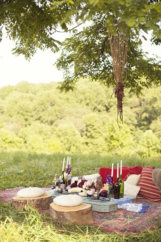 bohemian sweetheart table idea