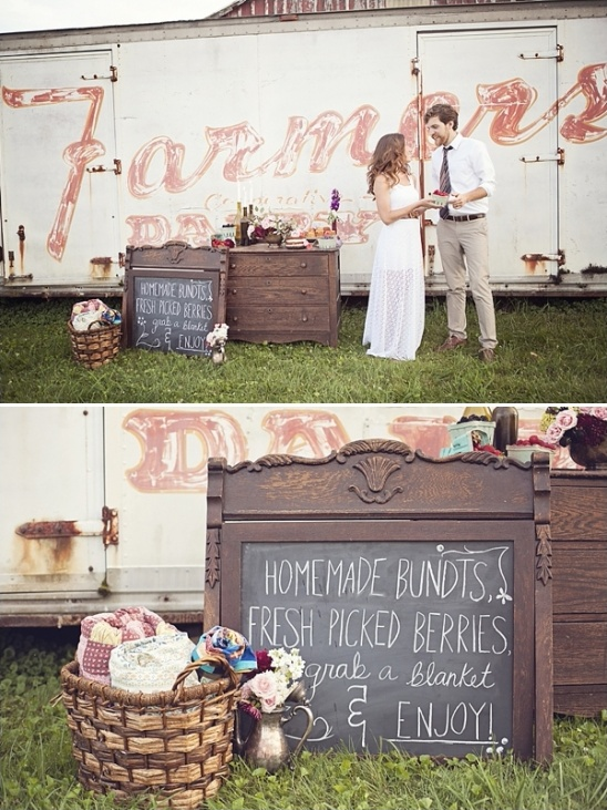 antique dresser dessert table and chalkboard