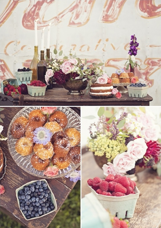 berry and baked goods dessert table