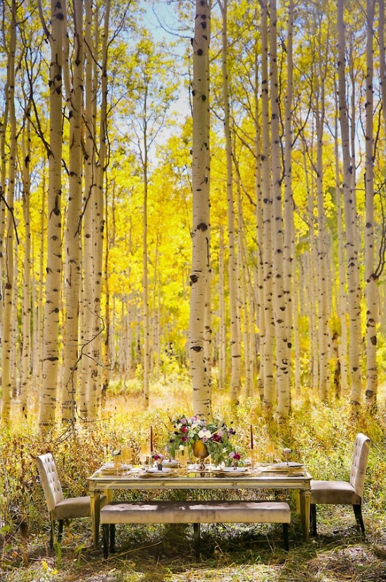 woodland reception table ideas