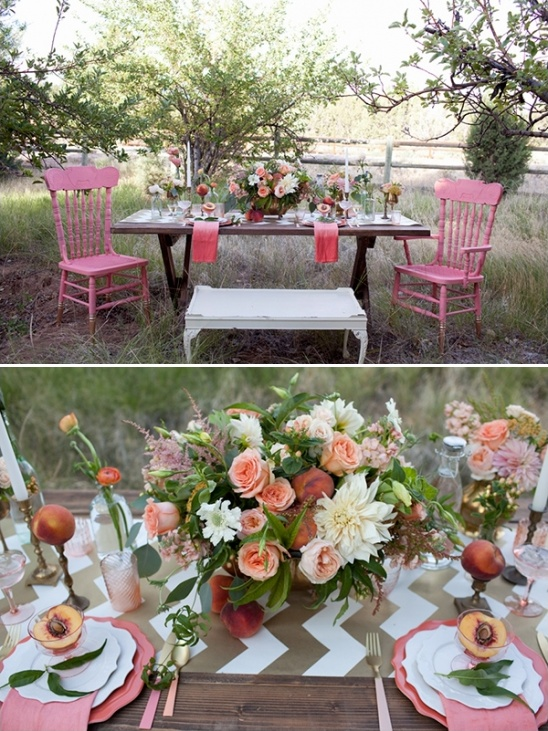 pink and peach glam table decor