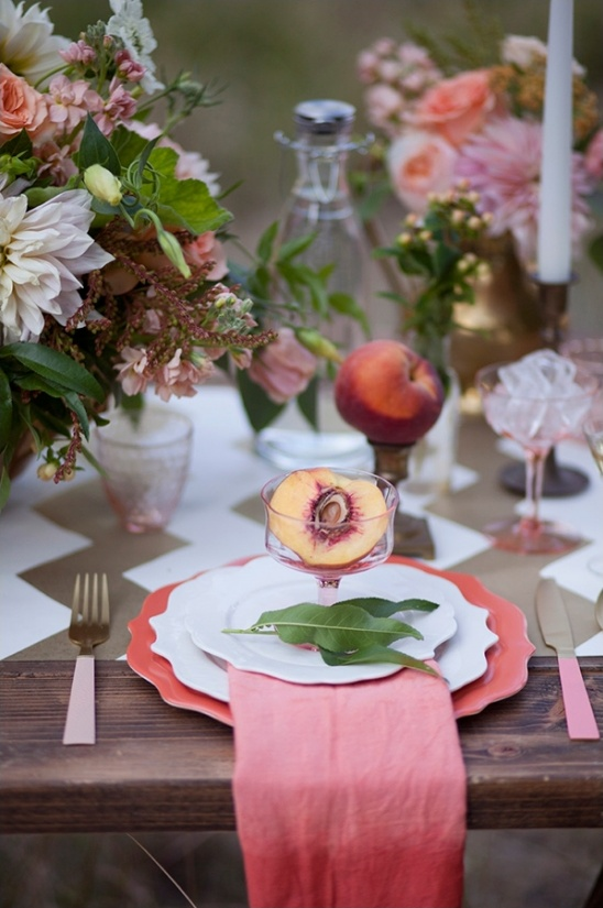 peach pink and gold glam place setting