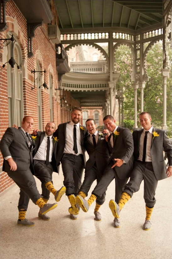 yellow and gray looks for the groom