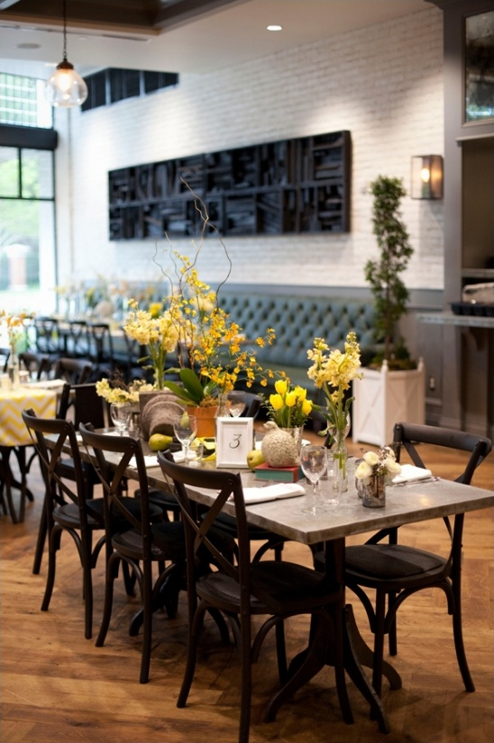 yellow and grey table decor