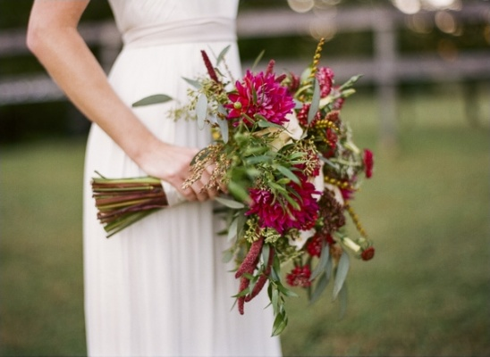magenta and green wedding bouquet