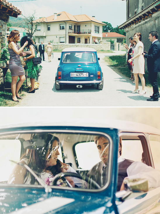 getaway car in a classic mini cooper