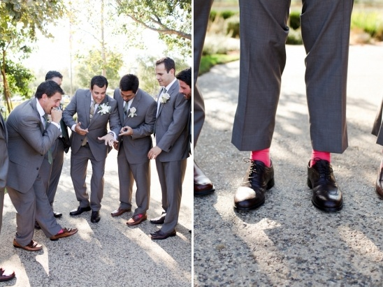 pink socks on groomsman