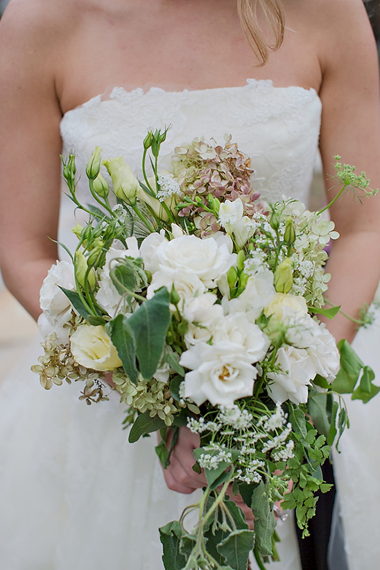 white bridal bouquet by The Gilded Ivy