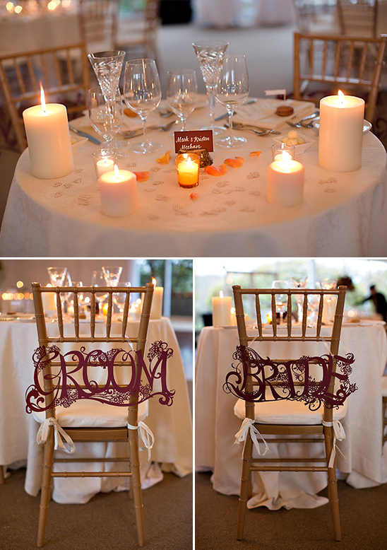 sweetheart table and seating signs