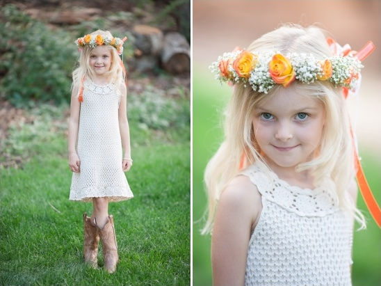 flower girl look with white crochet dress with cowgirl boots and orange floral crown