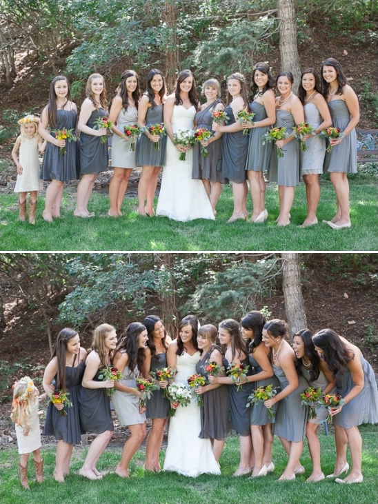 assorted gray bridesmaid dresses