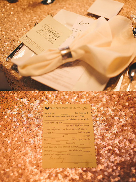 custom wedding mad libs at each place setting
