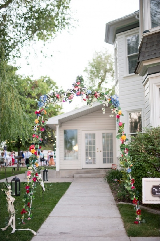 floral archway to the wedding reception