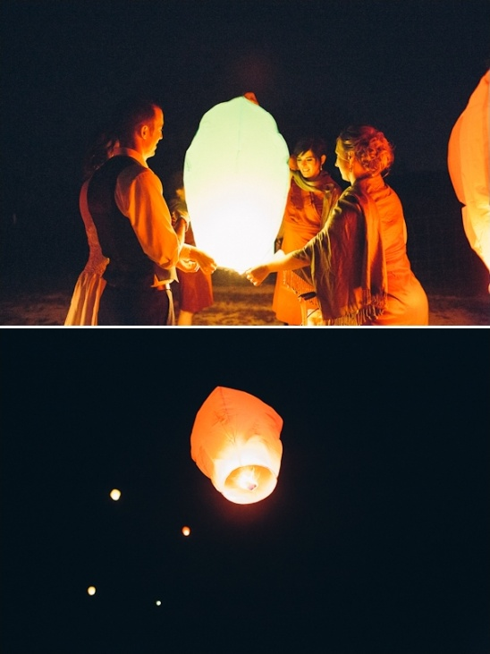 paper lanterns at farm wedding