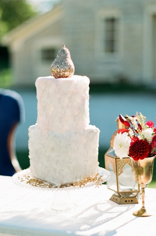 gold pear cake topper