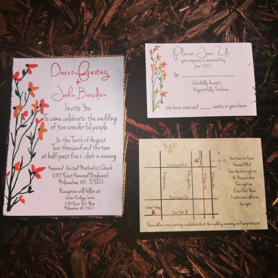 Rustic Floral Wedding invitation with rsvp & maps