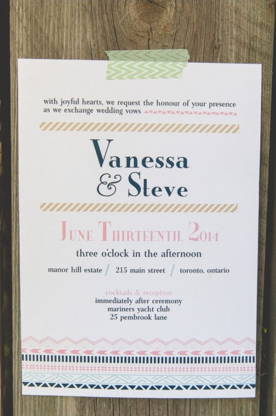 washi tape style wedding invite
