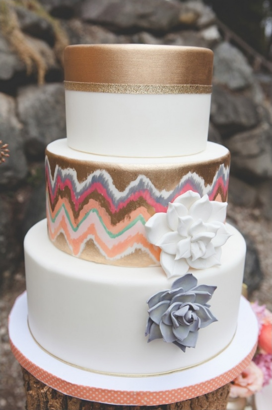 gold chevron cake